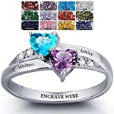Engagement Ring Promise Ring For Her Couples 2 Heart Birthstones 2 Names and 1 Engraving Customized and Personalized Size 8.5
