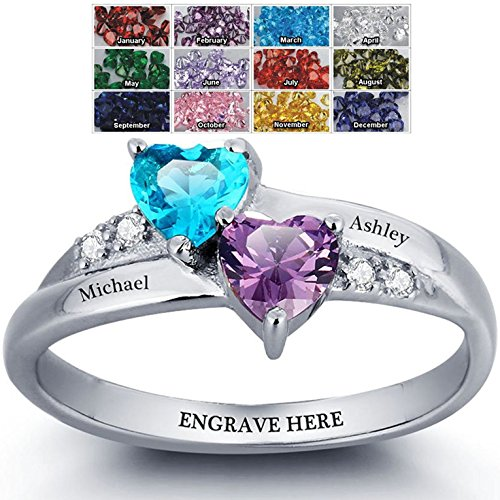 Engagement Ring Promise Ring For Her Couples 2 Heart Birthstones 2 Names and 1 Engraving Customized and Personalized Size 8 ()