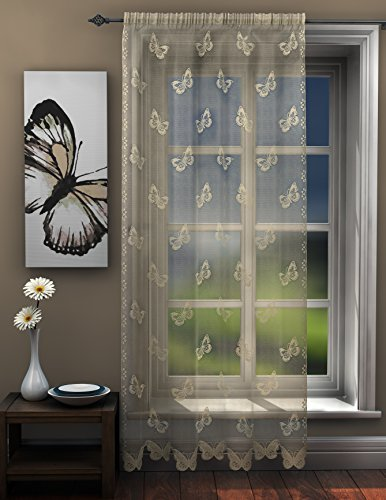 Butterflies lace net curtain panel ivory cream natural butterfly voile Curtain Panel 56 x 54 Drop (142cm x 137cm) Approx plain slot top traditional sheer elegant net by HOME-EXPRESSIONS