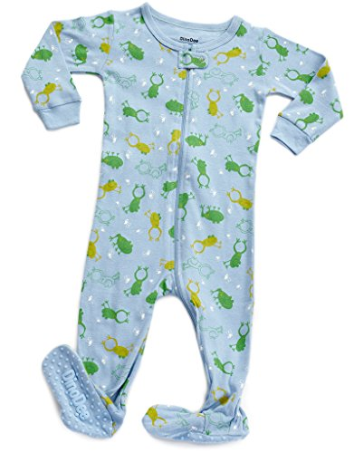 DinoDee Footed Cotton Sleeper Frog 6-12 M (Frog Baby Pajamas)