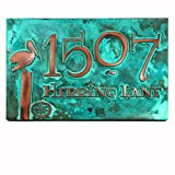 Perched Pelican Address Plaque 16x10.5 - Raised Copper Verdi Metal Coated Sign