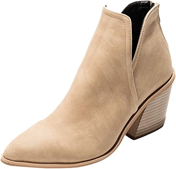 Luckycat Botines Mujer Tacon Cuero PU Tobillo Botas Piel Ankle ...