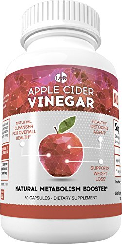Apple Cider Vinegar 1250mg - Natural Weight Loss, Detox, Cleanser & Metabolism Booster, Non-GMO, Vegan, Gluten Free, Soy Free, 60 Capsules