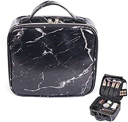 b1675caa047e HOYOFO Travel Makeup Train Case with Adjustable Dividers Marble Makeup  Organizer Bag Portable Cosmetic Storage Cases with Brush Holders, Black