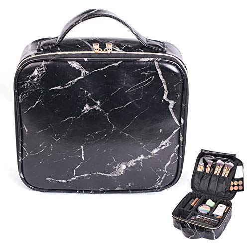5c5485432af4 HOYOFO Travel Makeup Train Case with Adjustable Dividers Marble Makeup  Organizer Bag Portable Cosmetic Storage Cases with Brush Holders, Black