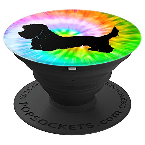 Dandie Dinmont Terrier Dog Silhouette Puppy Tie Dye Prints - PopSockets Grip and Stand for Phones and Tablets