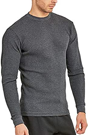 ToBeInStyle Men's Heavy Thermal Long Sleeve Crewneck Shirt - Charcoal - XXL