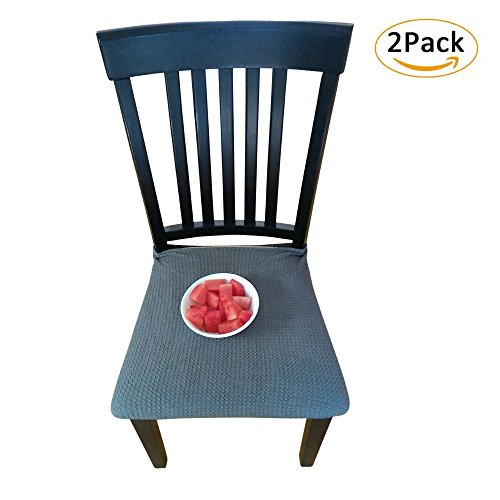 Waterproof Dining Chair Cover Protector - Pack of 2 - Perfect For Pets, Kids, Elderly, Wedding, Party - Machine Washable, Elastic, Removable, Premium Quality, Clean the Mess Easily (Grey Blue)