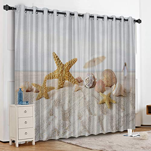 Anzona Starfish Seashell Beach Landscape Kitchen Curtains Window Drapes Thermal Insulated, Blackout Curtains for Kitchen/Cafe/Office/Bedroom Window Treatment, 52''W x 90''L
