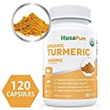 Cheap USDA Organic Turmeric Curcumin with Black Pepper Extract Vegan 1400mg per Serving – Joint Pain Relief & Anti-Inflammatory Powder – Organic Black Pepper Instead of BioPerine – 120 Tablets: No Pills