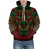 Xchenda Halloween Hoodies Men's Coat, Autumn Winter 3D Print Long Sleeve Hooded Sweatershirt Top Blouse (L/XL, A)