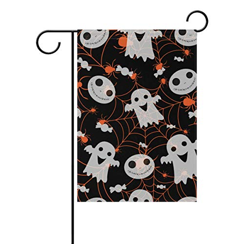 My Little Nest Double Sided Indoor Outdoor Garden Flag Halloween Spider Ghost Fade Resistant Seasonal Holiday Decorative Yard Flag 12x18 -