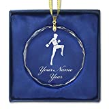 Round Crystal Christmas Ornament - Muay Thai Fighter - Personalized Engraving Included