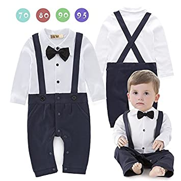 5dd26091b0a20 S M(エスエム) ベビー服フォーマルロンパース男の子カバーオール白いシャツベルトつき紳士