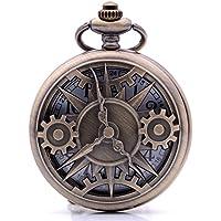 Steampunk Vintage Bronze Pointer Gear Quartz Pocket Watch with Chain, Mens Womens Pocket Watch with Box for Birthday