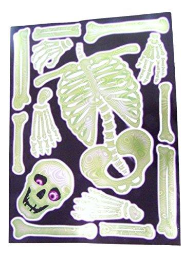 Halloween Reusable Hologram Window Clings ~ Green Skeleton