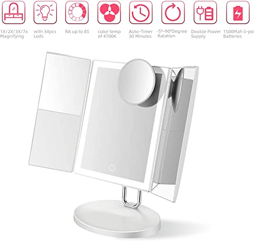 TOUCHBeauty Trifold Makeup Mirror with 34PCS LED Lights, Upgraded Metal Stand, Personal Vanity Mirror 1X 2X 3X 7X Magnification