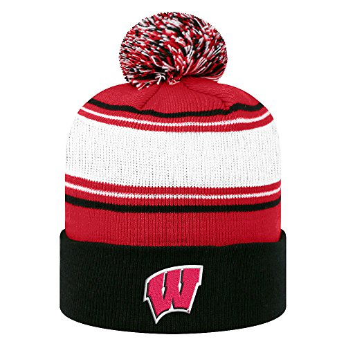 Top of the World NCAA Wisconsin Badgers Men's Elite Fan Shop Winter Knit Ambient Warm Hat, Red