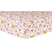 Trend Lab Snow Pals Pink Deluxe Flannel Fitted Crib Sheet