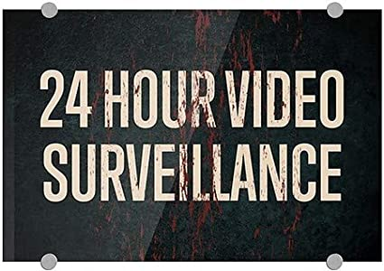 24 Hour Video Surveillance 5-Pack 27x18 CGSignLab Ghost Aged Rust Premium Brushed Aluminum Sign