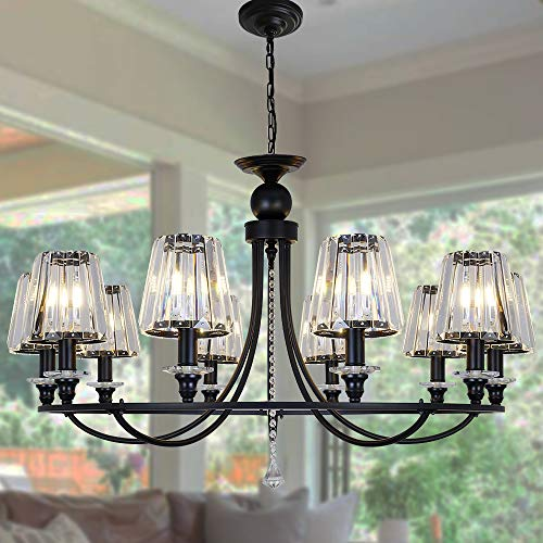 OSAIRUOS 10 Lights Modern Crystal Chandeliers Pendant Round Chandelier Retro Ceiling Lighting Fixtures for Living Room Foyer Kitchen Island W38.6