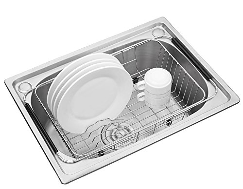 Adjustable Dish Drying Rack, 304 Stainless Steel Dish Drainer, On Counter or In Sink Dish Rack, Deep and Large- Rustproof
