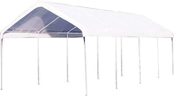 Amazon Com King Canopy C81027pc 10 Feet By 27 Feet Universal 10 Leg Silver Canopy White Outdoor Canopies Garden Outdoor
