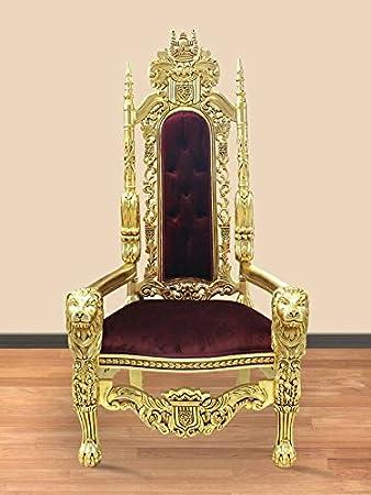 Louisxv Barock Sessel Stuhl Thron Prunksessel Antik Stil Blatt Gold