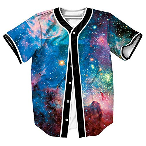 OYABEAUTY Unisex Arc Bottom 3D Print Baseball Team Jersey Shirt(X-Large,Galaxy Classic)