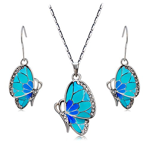 Hkt&c 18k White Gold Plated Crystal Blue Butterfly Dangle Earrings and Necklace Set