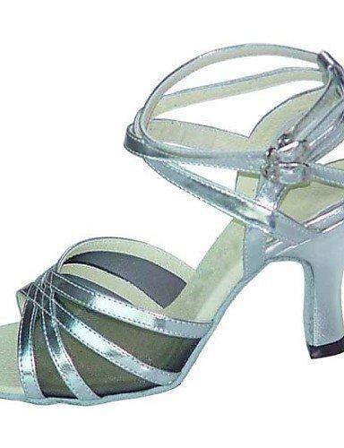 ShangYi Chaussures de danse ( Noir / Marron / Rouge / Argent / Autre ) - Non Personnalisables - Talon Bottier - Similicuir / Paillette -Latine / Red