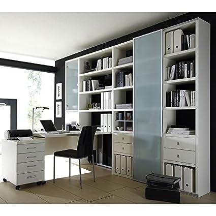 Wohnwand Bcherregal Mit Schreibtisch Sideboard TOLEO238 Lack Weiss Amazonde Kche Haushalt
