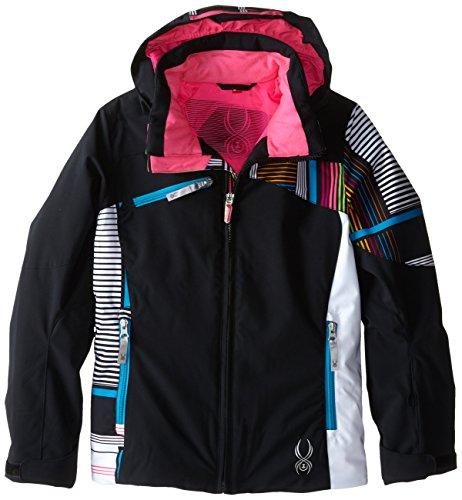 Spyder Girls Project Jacket, 10, Black/Black Check Plaid Print/White