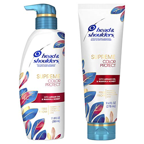 Head & Shoulders Dandruff Shampoo and Conditioner, Supreme Color Protect with Argan Oil and Manuka Honey, 11.8 Oz, 9.4 Oz