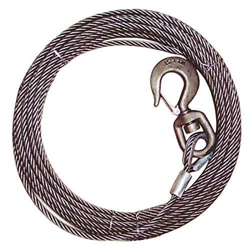Vulcan Classic Steel Core Winch Cable With Swivel Hook - 15,100 lbs. Minimum Breaking Strength (3/8'' x ()