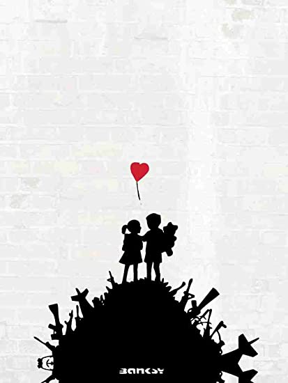 Banksy Girl Boy Bomb Guns Red Balloon A3 Box Canvas Print Amazon Co