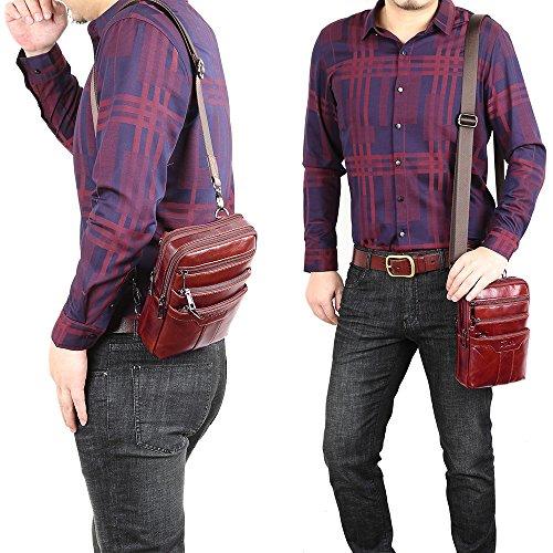 Sunmig Men's Vintage Genuine Leather Shoulder Bag Messenger Bags (brown-3803) by Sunmig (Image #7)