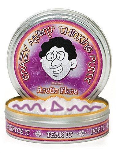 Crazy Aaron's Thinking Putty 3.2 Ounce Liquid Glass and Arctic Flare Phantom Large 4 Inch Tins, Plus 1.6 Ounce Ceylon Sapphire Precious Gem, and Putty Mat Buncle 4 Items by Brand: Thinking Putty (Image #2)