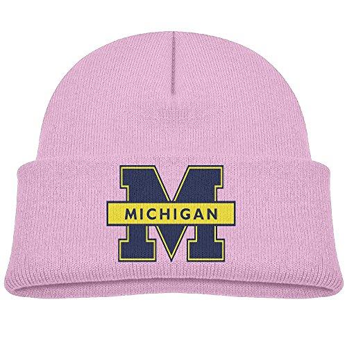 Michigan University Kids Beanie Skull Hat Knitted Cap Pink
