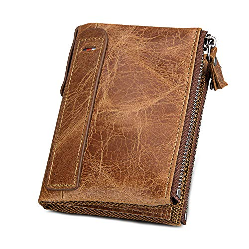 Men Large Capacity Zip Wallet Double Zipper Pocket Vintage Bifold Pockets Genuine Leather Cowhide Wallet (Brown)