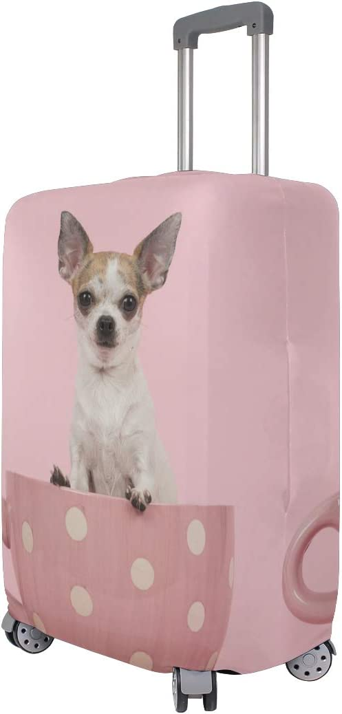 Washable Foldable Luggage Cover Protector Fits 18-21Inch Suitcase Covers Chihuahua Dog Cute Pink