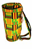 "African Kente Print Djembe Bag - Backpack style case fits 12.5"" x 22"" djembe drums - Zip top opening"