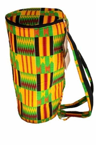 African Kente Print Djembe Bag - Backpack style case fits 12.5'' x 22'' djembe drums - Zip top opening by Africa Heartwood Project