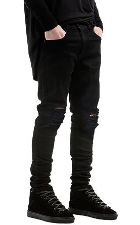 990fdb821 NITAGUT Men's Slim Fit Black Stretch Destroyed Ripped Skinny Denim Jeans  Black-US 28