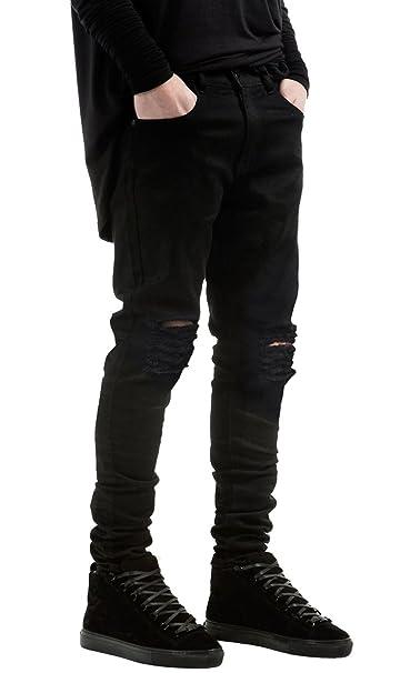 NITAGUT Mens Slim Fit Stretch Destroyed Ripped Skinny Denim Jeans
