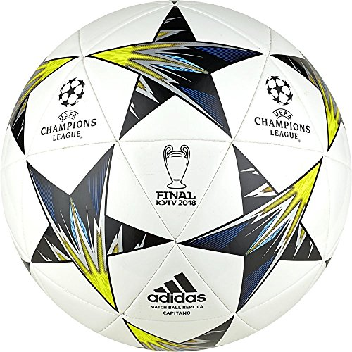 adidas Herren Finale Kiev Ball, Blanc/Noir/Jaune Solaire/Bleu, Einheitsgröße blanc/noir/jaune solaire/bleu