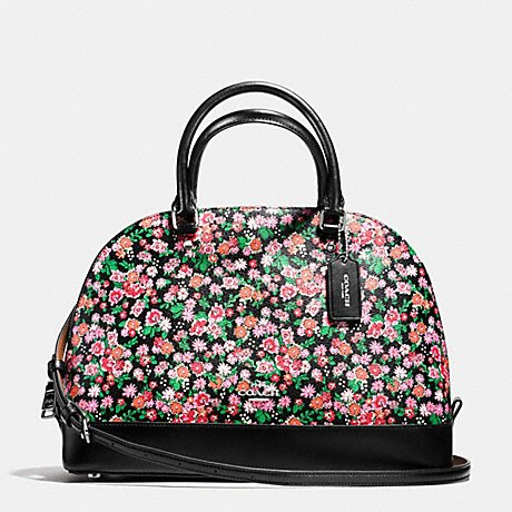 Coach Women's Sierra Satchel in Posey Cluster Floral Print Coated Canvas, Style F57622, Silver Pink Multi - Coach Style Handbag