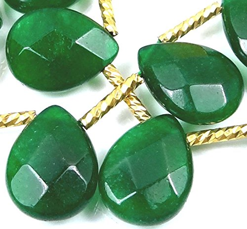 OutletBestSelling Charm Bracelet 16x12mm Emerald Green Jade Faceted Briolette Teardrop Beads 12 ()