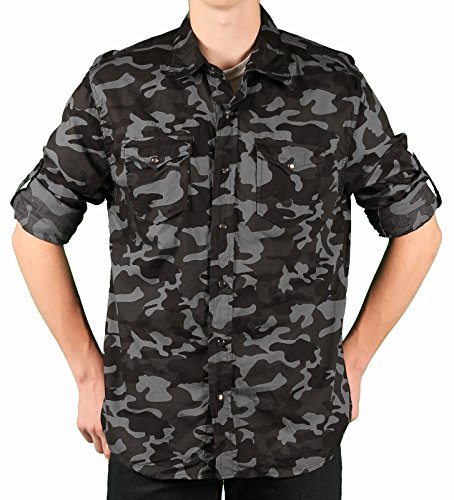 Ditch Plains Young Men's Roll-Sleeve Camo Shirt, Dk. Charcoal, Size Small (Pearl Slim Snap Shirt Western)