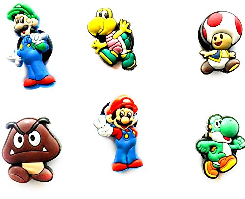 AVIRGO 6 pcs Customise Your Shoe Wristband 10 mm Hole Set # 67-1 - Super Mario Bros Toad Costume For Baby